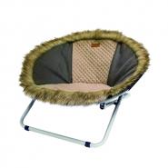 Chaise longue en fourrure brune 68X68X42 cm